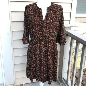 Black, Red, Gold Holiday Dress - Flowy - size L